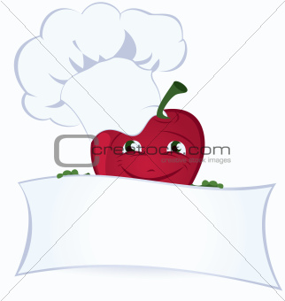 Apple-cartoon-character-is-holding-promo-board