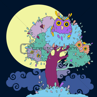 Owls in tree.
