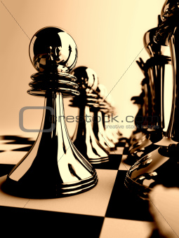 chessmen of dark color on checkered board