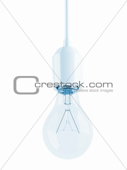 glass transparent light bulb on white background
