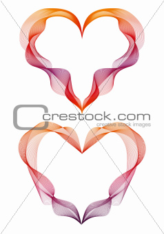 abstract ribbon hearts, vector