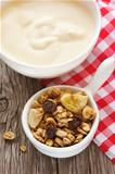 Granola and yogurt.