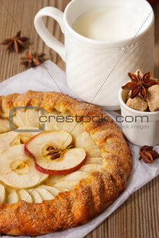 Apple pie and milk.