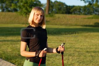 Nordic walking in summer
