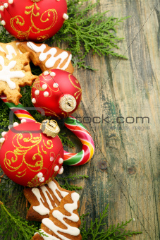 Christmas toys, candy and gingerbread cookies.