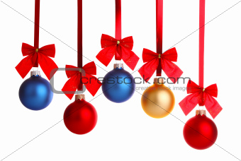 christmas decoration on ribbon with red bow