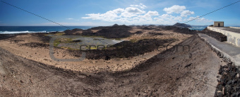 Panorama of Lobos Island from the Martino lighthouse, Canarias.