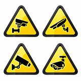 CCTV triangular labels, set symbol video surveillance