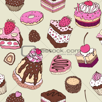 Cute cake. Seamless pattern.
