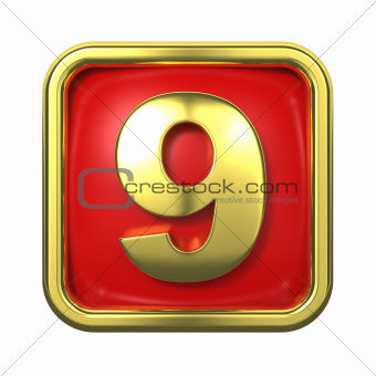 Gold Numbers in Frame, on Red Background.