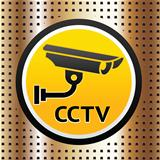 Video surveillance symbol on a golden background