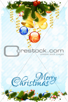 Grungy Christmas Card with Decorations