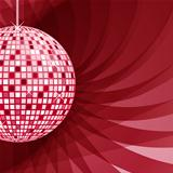 Disco ball red on abstract background