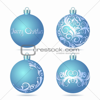 Set of Blue Christmas balls on white background.