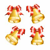 Set of golden bells with red bows.