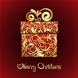 Christmas card - gift box with gold ornament.