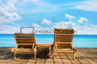 Two wooden beach chair