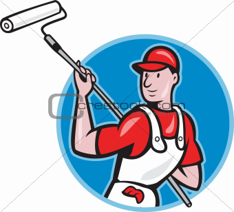House Painter With Paint Roller Cartoon