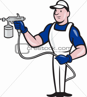 Spray Painter Spraying Gun Cartoon