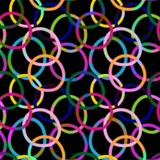 Seamless black pattern with colorful rings