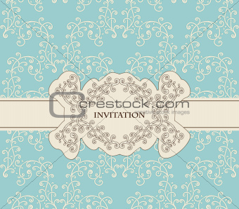 Vector Invitation on Seamless Floral Pattern