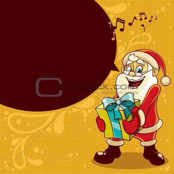 Santa Christmas illustration with speech bubble