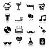 Party icons set - birthday, New Year&#39;s, Christmas