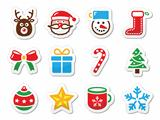 Christmas icons set as labels