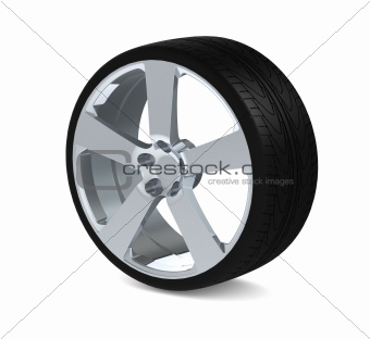 Wheel with aluminium rim over the white background