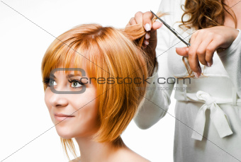 Hair Dresser At Work, Isolated