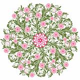 Vintage floral round pattern