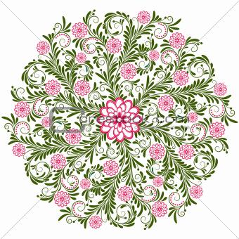 Vintage floral round pattern