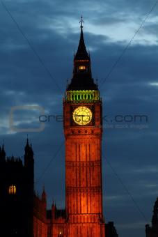 Lights of Big Ben at Dusk