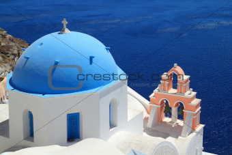 A church with a blue dome - Santorini