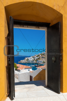 The island of Hydra, Greece, through an open door