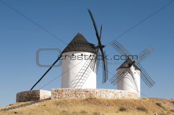 White ancient windmills