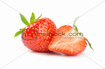 Fresh strawberry isolated on white
