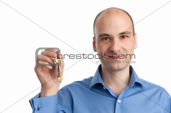 business man with keys in a hand