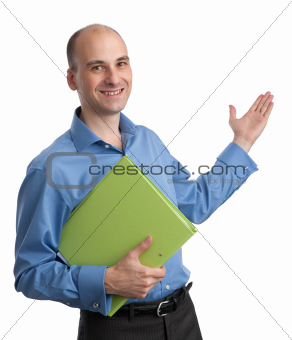 Smiling businessman pointing hand at copy space isolated on whit