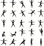 Set of stylized fitness women silhouettes