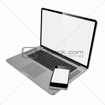 Laptop Computer and Mobile Phone.