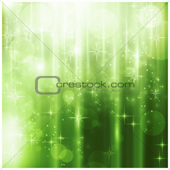 Elegant green Christmas card with sparkling lights