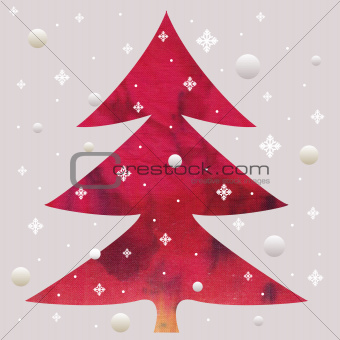 batik christmas red tree