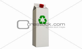 milk package with recycle symbol