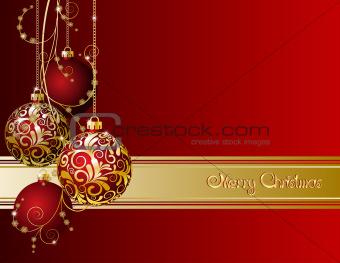 Red Christmas card with Christmas balls and snowflakes