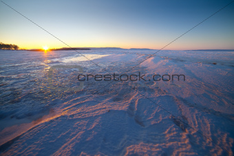 Beautiful winter landscape of sunrise