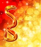 Chinese New Year Golden Snake with Blurred Background