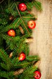 christmas fir tree with pinecones and apples