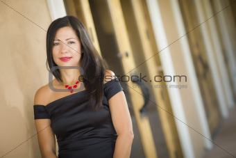 Attractive Smiling Hispanic Woman Portrait Outside.