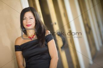 Attractive Smiling Hispanic Woman Portrait Outside.
